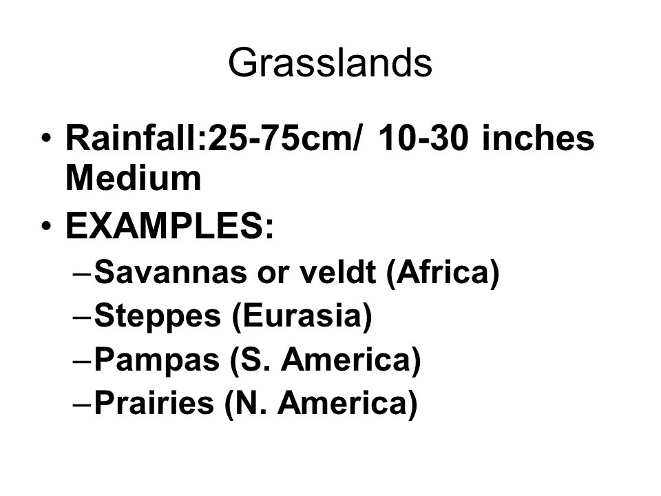 Grasslands Rainfall:25-75cm/ 10-30 inches Medium EXAMPLES: –Savannas or veldt (Africa) –Steppes (Eurasia) –Pampas (S.