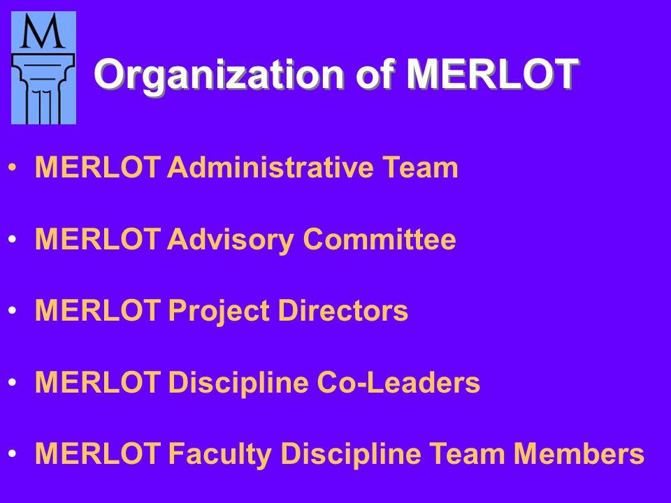 Organization of MERLOT MERLOT Administrative Team MERLOT Advisory Committee MERLOT Project Directors MERLOT Discipline Co-Leaders MERLOT Faculty Discipline Team Members