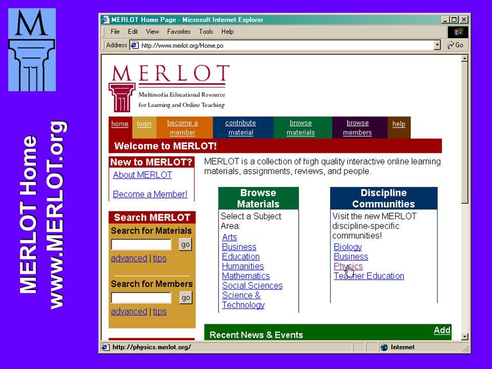 MERLOT Home www.MERLOT.org