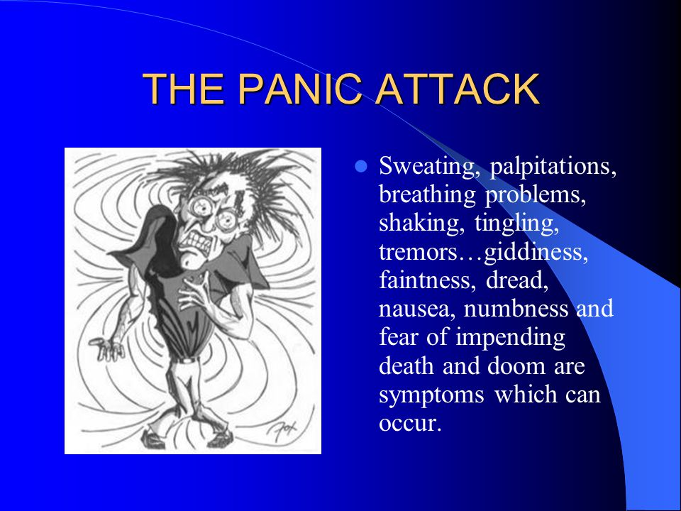 THE PANIC ATTACK Sweating, palpitations, breathing problems, shaking, tingling, tremors…giddiness, faintness, dread, nausea, numbness and fear of impe