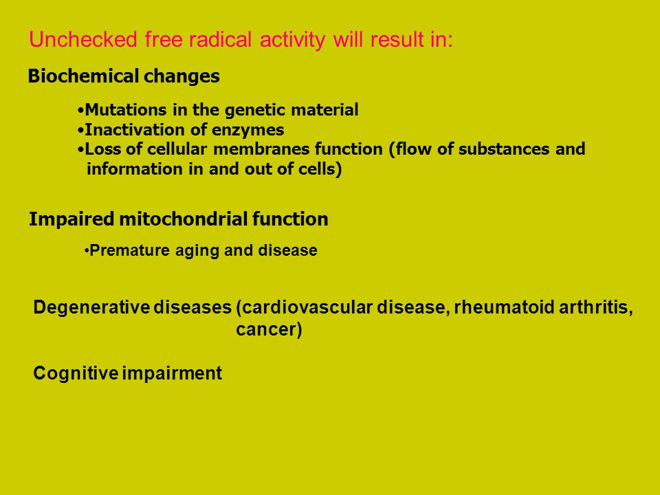 Unchecked free radical activity will result in: Biochemical changes Mutations in the genetic material Inactivation of enzymes Loss of cellular membran