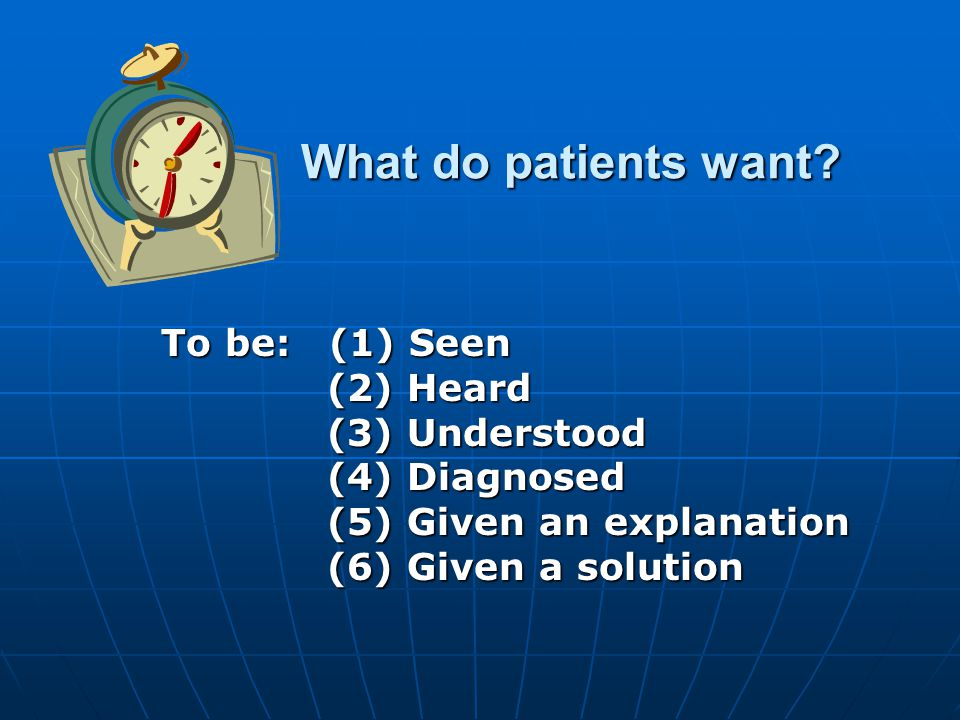 What do patients want. What do patients want.