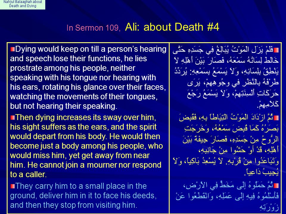 Nahjul Balaaghah about Death and Dying In Sermon 109, Ali: about Death #4 Dying would keep on till a person's hearing and speech lose their functions,