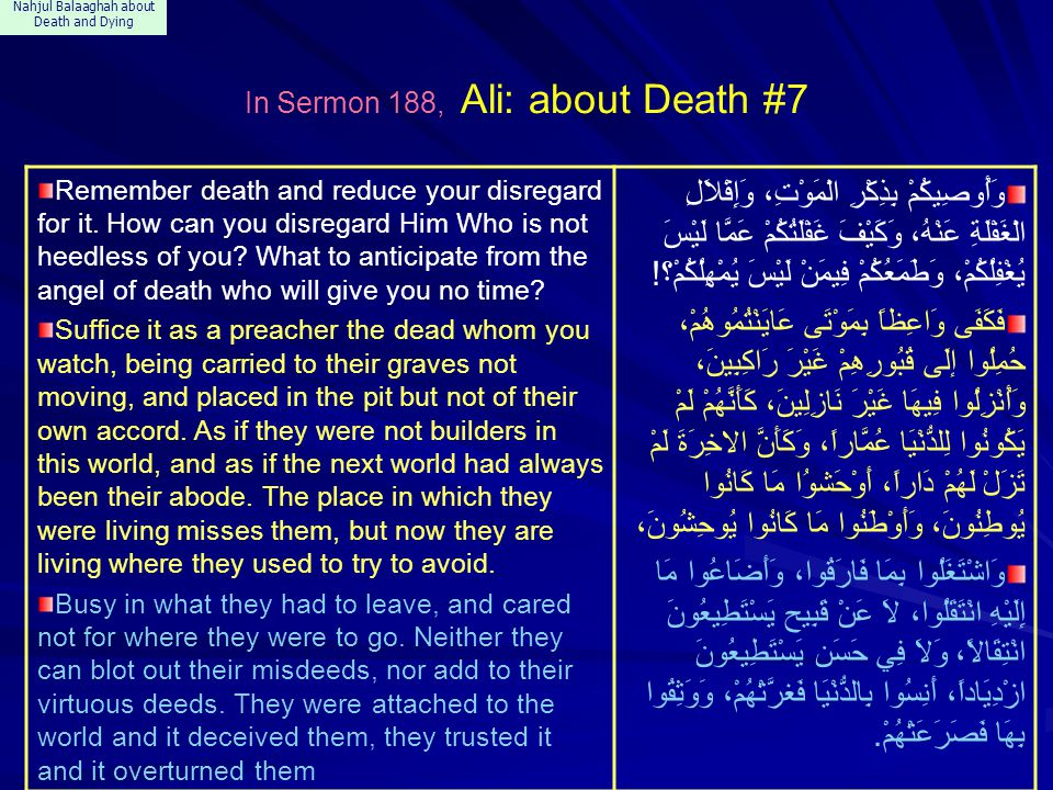 Nahjul Balaaghah about Death and Dying In Sermon 188, Ali: about Death #7 Remember death and reduce your disregard for it. How can you disregard Him W