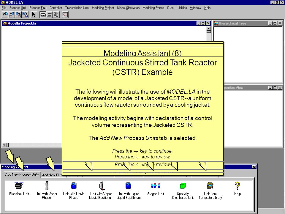 Model Simulation When the student feels the physico-chemical description of the model is complete, the Model Simulation tab is selected, and the Edit Simulation Options option is activated.