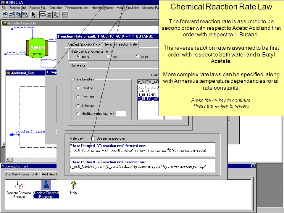Chemical Reactions Any number of chemical reactions may be specified.