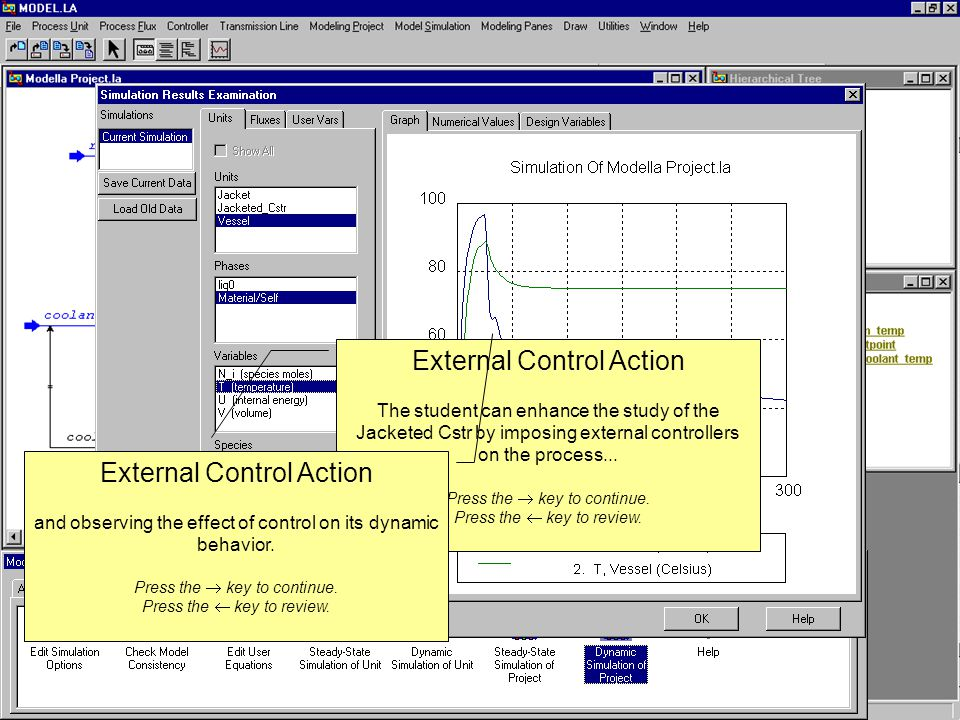 External Control Action The student can enhance the study of the Jacketed Cstr by imposing external controllers on the process...