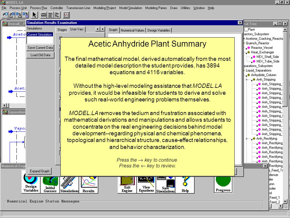 Acetic Anhydride Plant Summary The final mathematical model, derived automatically from the most detailed model description the student provides, has 3894 equations and 4116 variables.