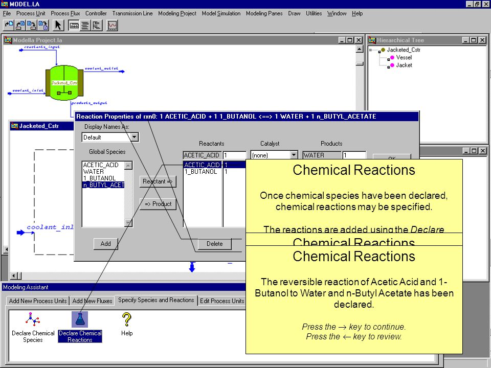 Chemical Reactions Once chemical species have been declared, chemical reactions may be specified.