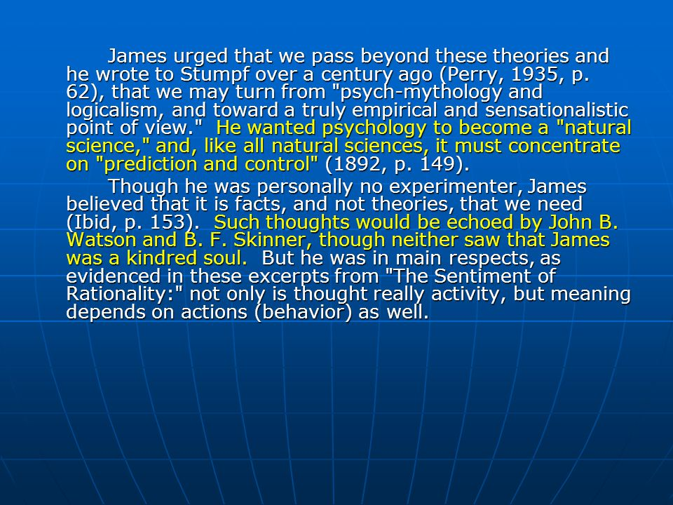 James's positivism was described in a philosophical paper titled