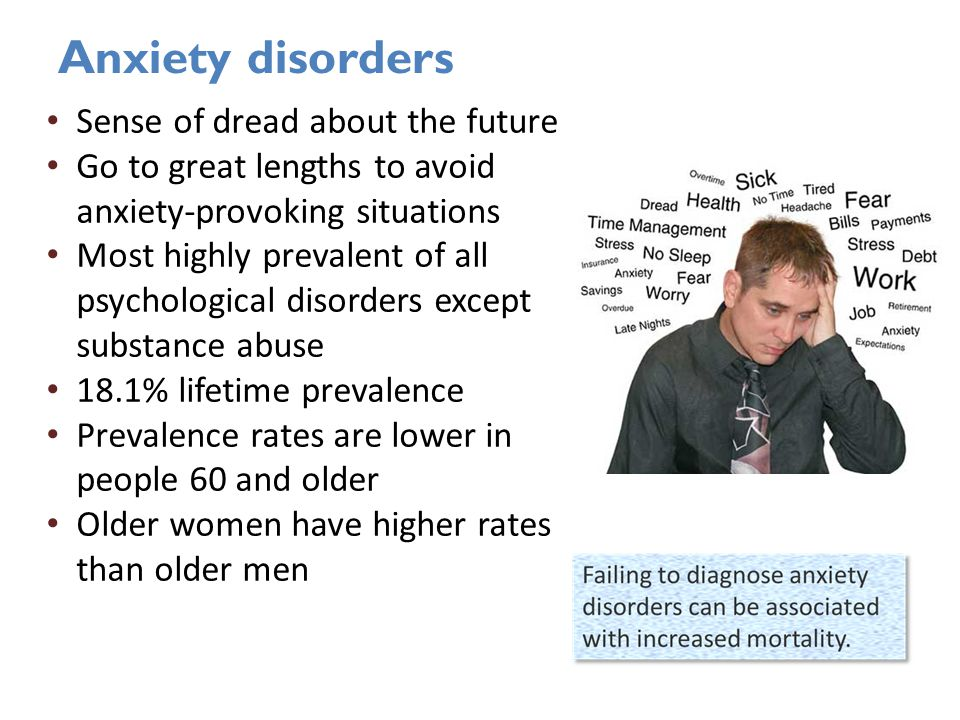 Anxiety disorders Sense of dread about the future Go to great lengths to avoid anxiety-provoking situations Most highly prevalent of all psychological disorders except substance abuse 18.1% lifetime prevalence Prevalence rates are lower in people 60 and older Older women have higher rates than older men