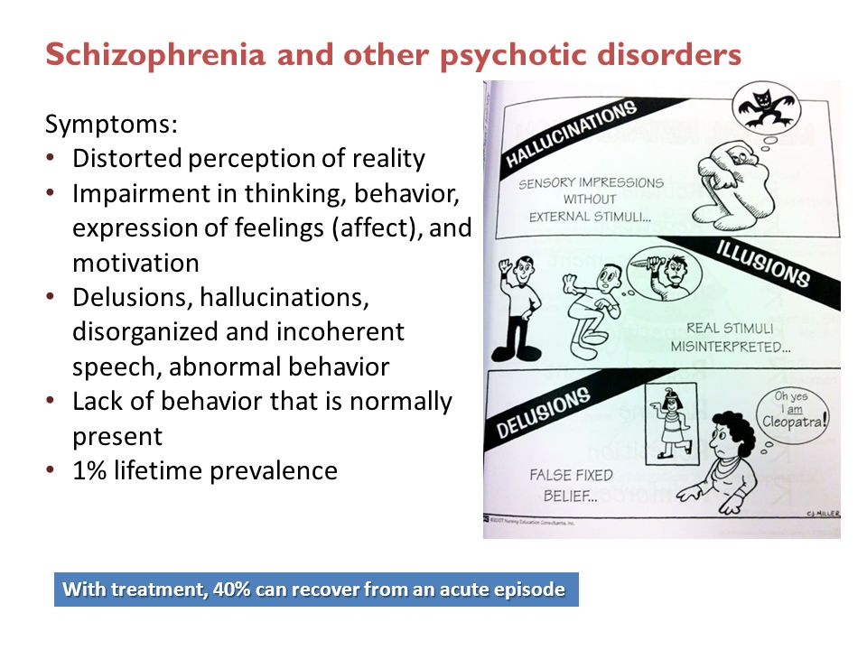 Schizophrenia and other psychotic disorders Symptoms: Distorted perception of reality Impairment in thinking, behavior, expression of feelings (affect), and motivation Delusions, hallucinations, disorganized and incoherent speech, abnormal behavior Lack of behavior that is normally present 1% lifetime prevalence With treatment, 40% can recover from an acute episode
