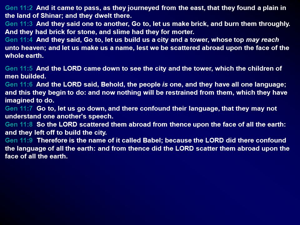 Gen 11:2 And it came to pass, as they journeyed from the east, that they found a plain in the land of Shinar; and they dwelt there. Gen 11:3 And they