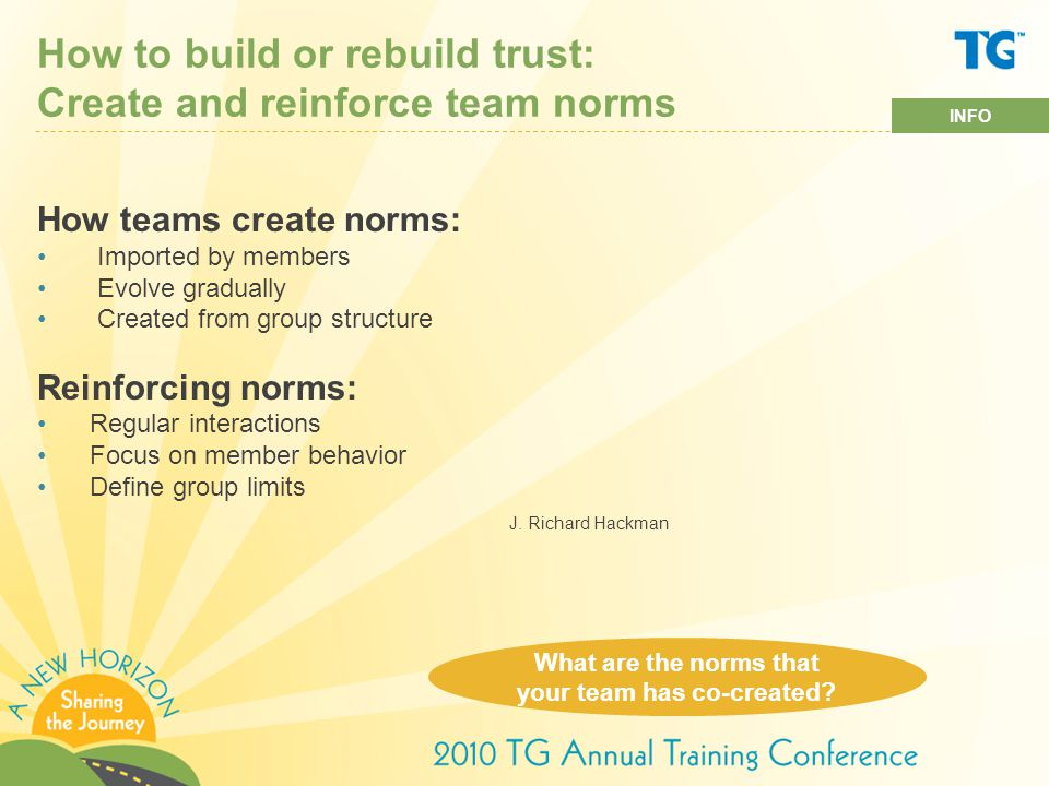 How to build or rebuild trust: Create and reinforce team norms How teams create norms: Imported by members Evolve gradually Created from group structure Reinforcing norms: Regular interactions Focus on member behavior Define group limits J.