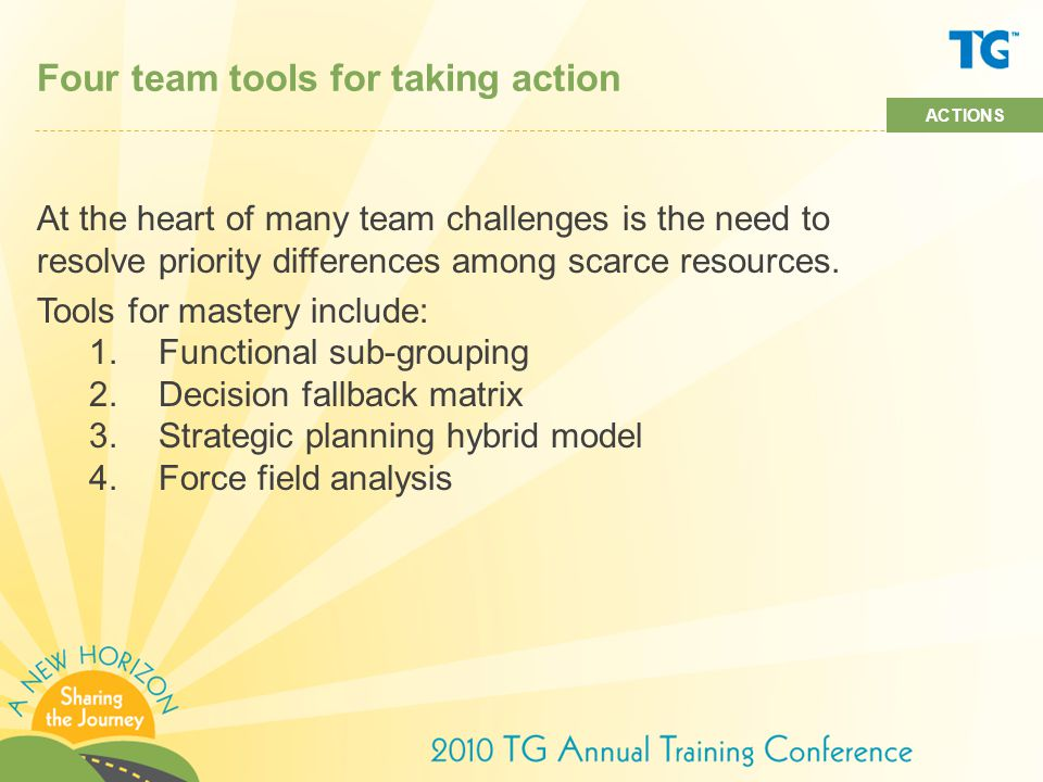 Four team tools for taking action At the heart of many team challenges is the need to resolve priority differences among scarce resources.