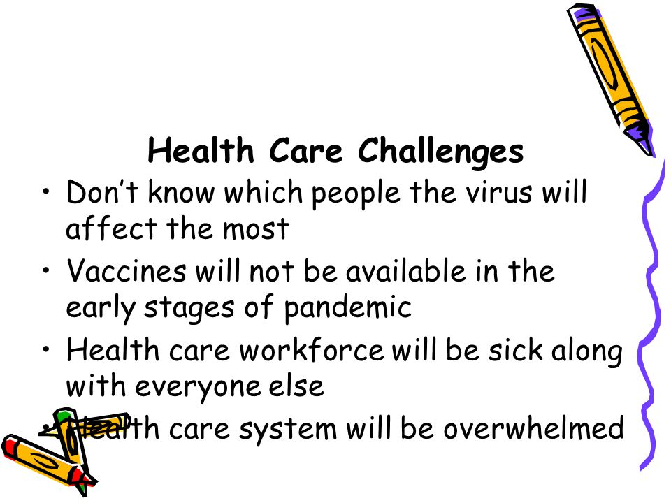 Health Care Challenges Don't know which people the virus will affect the most Vaccines will not be available in the early stages of pandemic Health care workforce will be sick along with everyone else Health care system will be overwhelmed