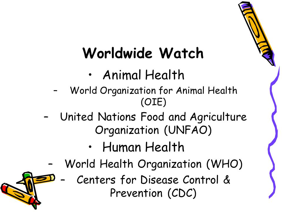 Worldwide Watch Animal Health –World Organization for Animal Health (OIE) –United Nations Food and Agriculture Organization (UNFAO) Human Health –World Health Organization (WHO) –Centers for Disease Control & Prevention (CDC)