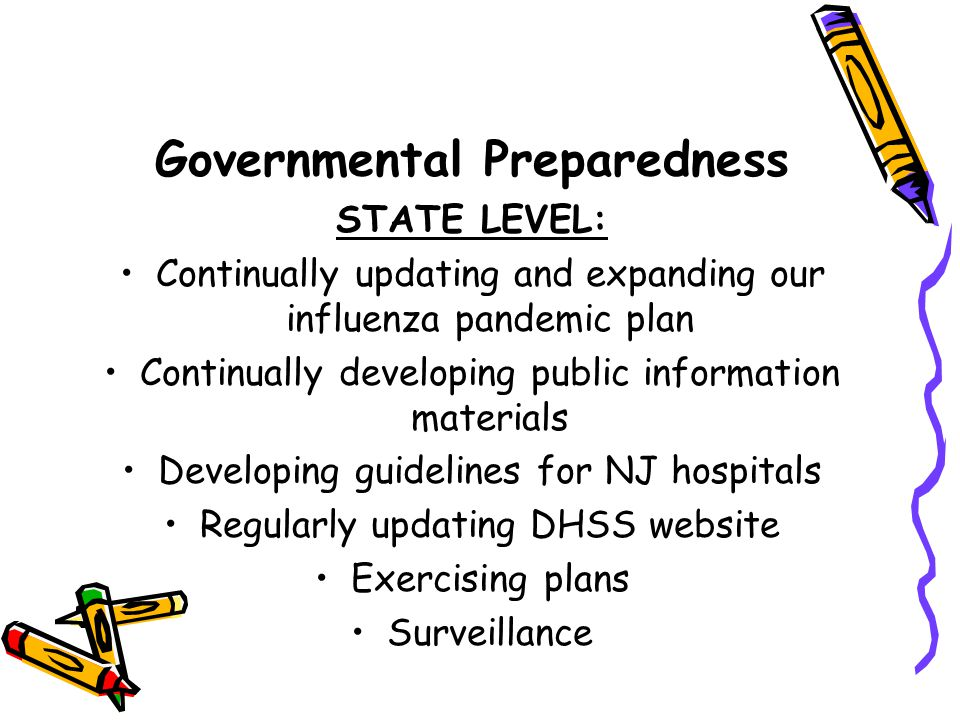 Governmental Preparedness STATE LEVEL: Continually updating and expanding our influenza pandemic plan Continually developing public information materials Developing guidelines for NJ hospitals Regularly updating DHSS website Exercising plans Surveillance