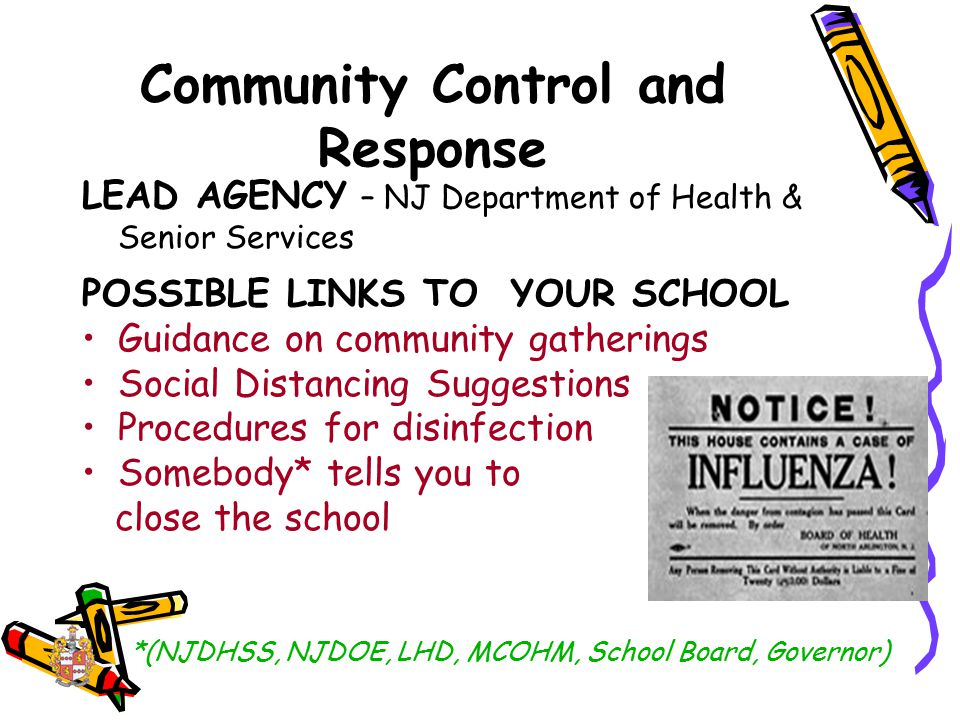 Community Control and Response LEAD AGENCY – NJ Department of Health & Senior Services POSSIBLE LINKS TO YOUR SCHOOL Guidance on community gatherings