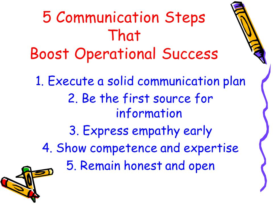 5 Communication Steps That Boost Operational Success 1. Execute a solid communication plan 2. Be the first source for information 3. Express empathy e