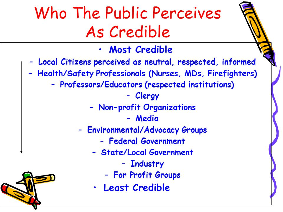 Who The Public Perceives As Credible Most Credible –Local Citizens perceived as neutral, respected, informed –Health/Safety Professionals (Nurses, MDs