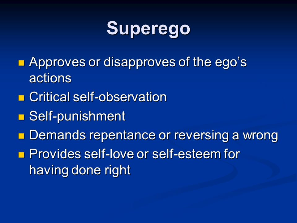 Superego The last function of the psyche to develop The last function of the psyche to develop The representative of the society within the psyche The representative of the society within the psyche Conscience or morality Conscience or morality Ideal aspirations [ ego-ideal ] Ideal aspirations [ ego-ideal ] Mainly unconscious Mainly unconscious Develops from the ego by identifying with parents Develops from the ego by identifying with parents