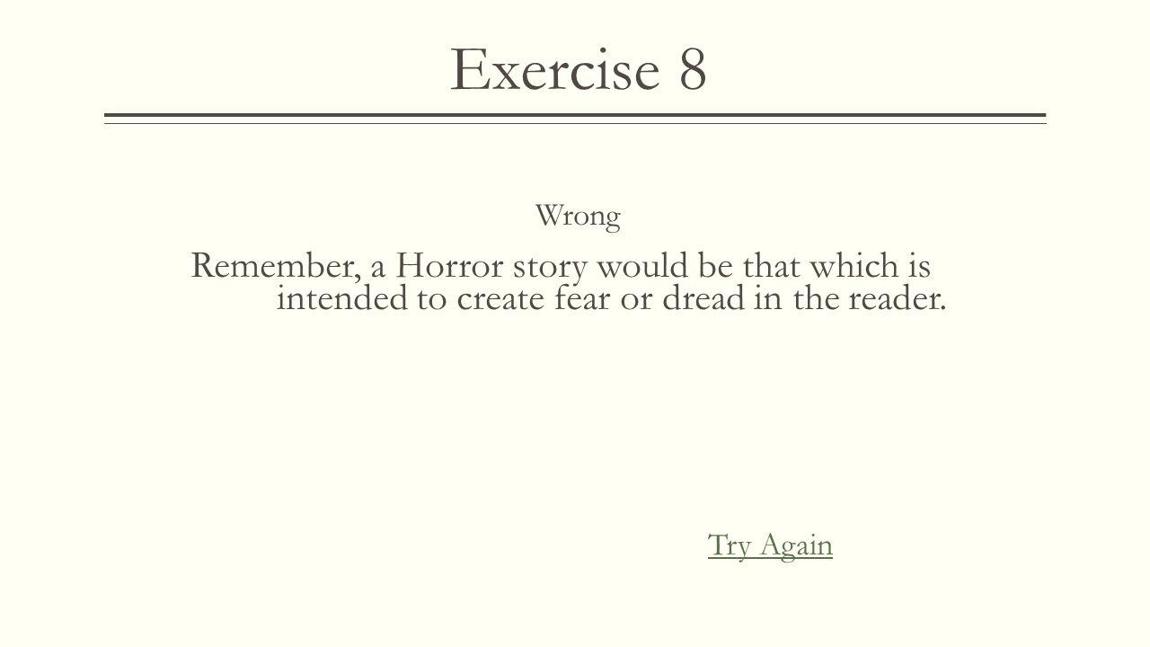 Exercise 8 Correct! Next