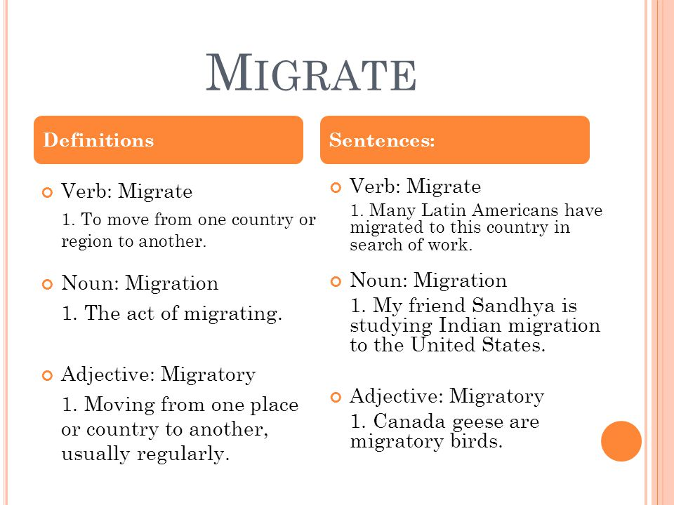 M IGRATE Verb: Migrate 1. To move from one country or region to another.