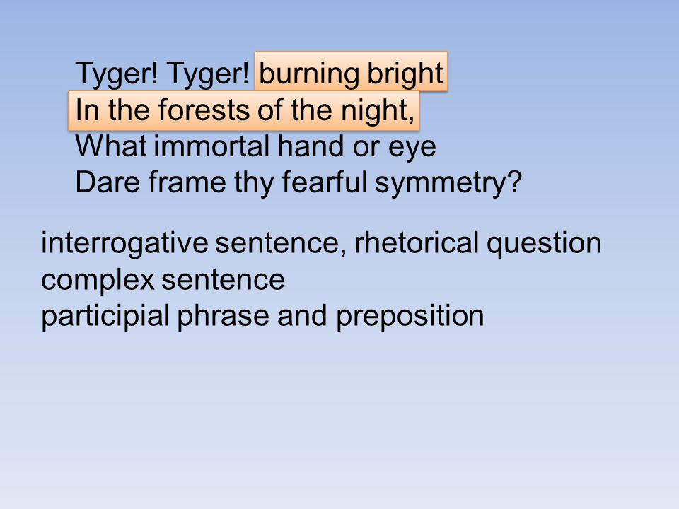 Tyger! Tyger! burning bright In the forests of the night, What immortal hand or eye Dare frame thy fearful symmetry? interrogative sentence, rhetorica