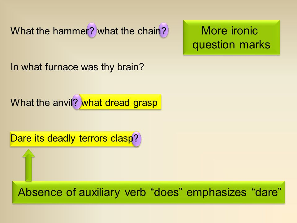 """Absence of auxiliary verb """"does"""" emphasizes """"dare"""" More ironic question marks More ironic question marks What the hammer? what the chain? In what furn"""