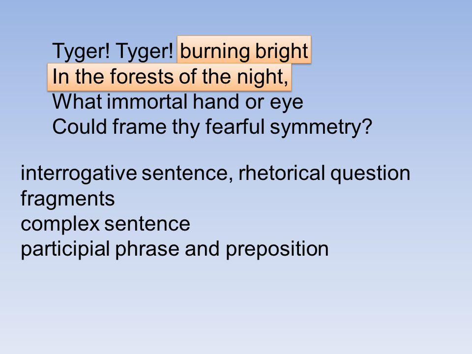 Tyger! Tyger! burning bright In the forests of the night, What immortal hand or eye Could frame thy fearful symmetry? interrogative sentence, rhetoric