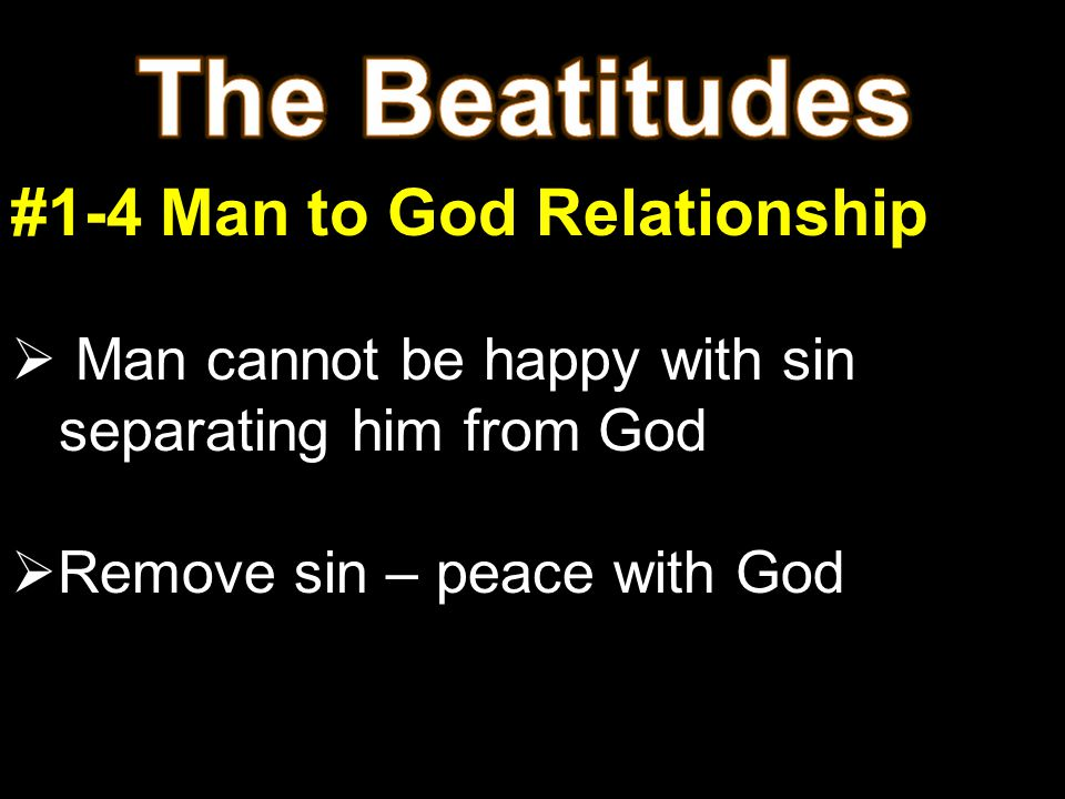 #1-4 Man to God Relationship  Man cannot be happy with sin separating him from God  Remove sin – peace with God