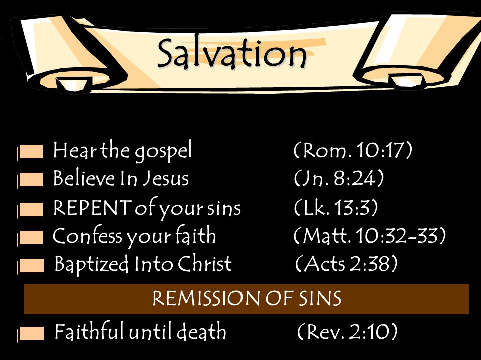 Salvation Hear the gospel (Rom. 10:17) Believe In Jesus (Jn. 8:24) REPENT of your sins (Lk. 13:3) Confess your faith(Matt. 10:32-33) Baptized Into Chr