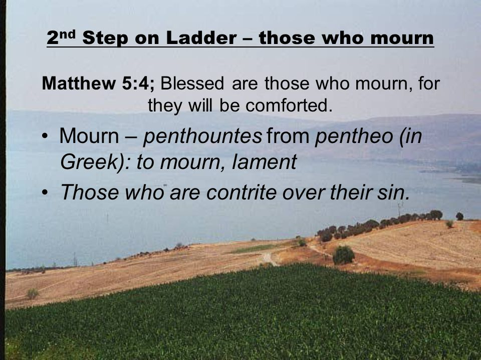 2 nd Step on Ladder – those who mourn Matthew 5:4; Blessed are those who mourn, for they will be comforted.