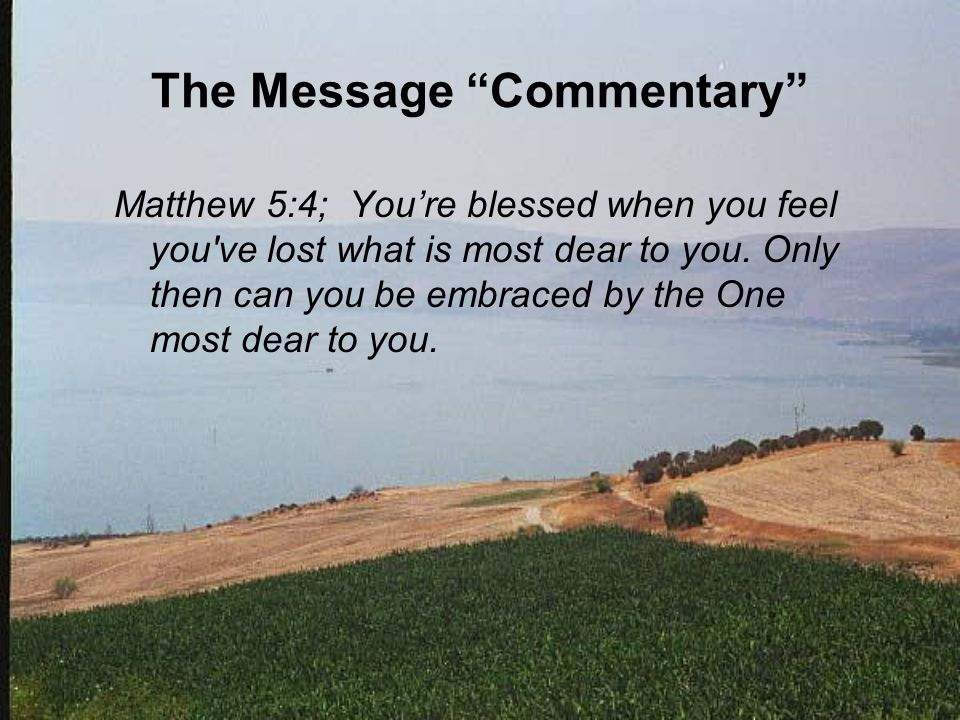 The Message Commentary Matthew 5:4; You're blessed when you feel you ve lost what is most dear to you.