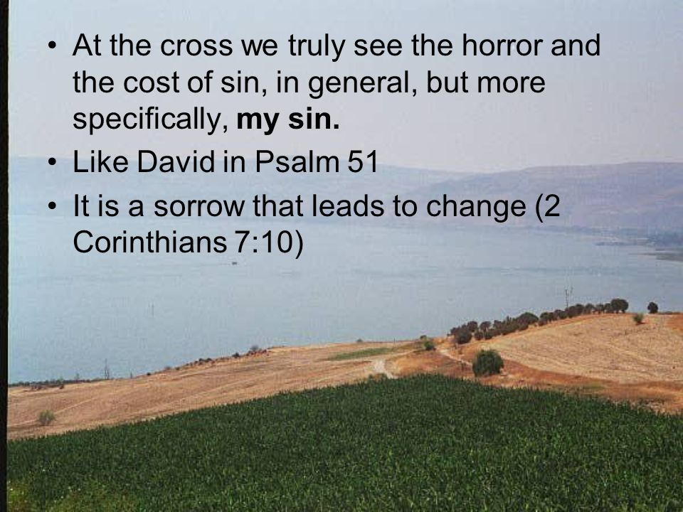 At the cross we truly see the horror and the cost of sin, in general, but more specifically, my sin. Like David in Psalm 51 It is a sorrow that leads