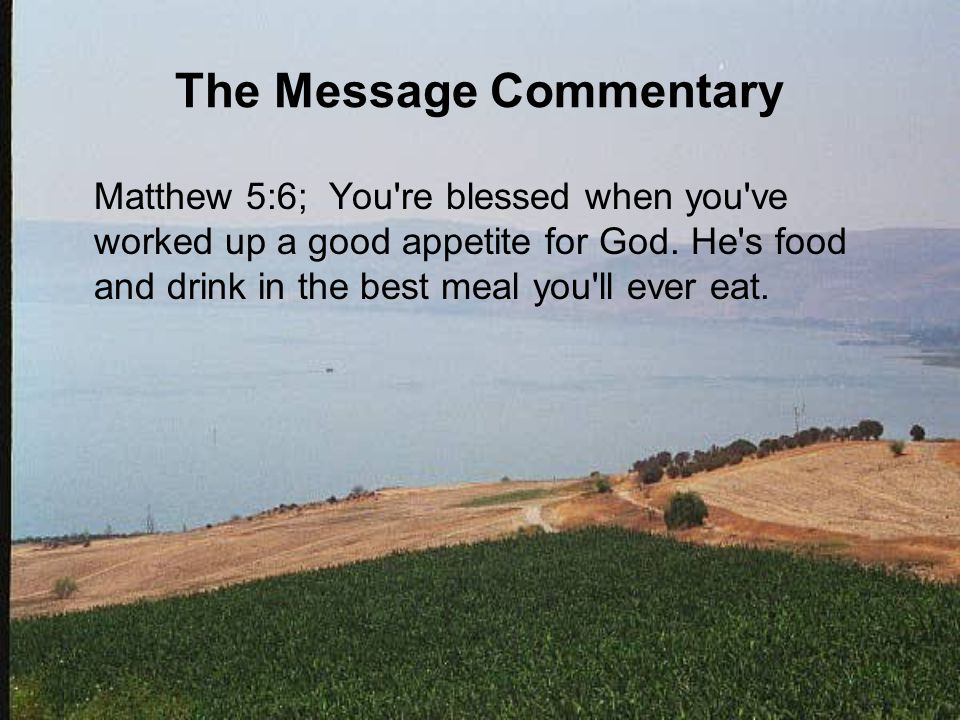 The Message Commentary Matthew 5:6; You re blessed when you ve worked up a good appetite for God.