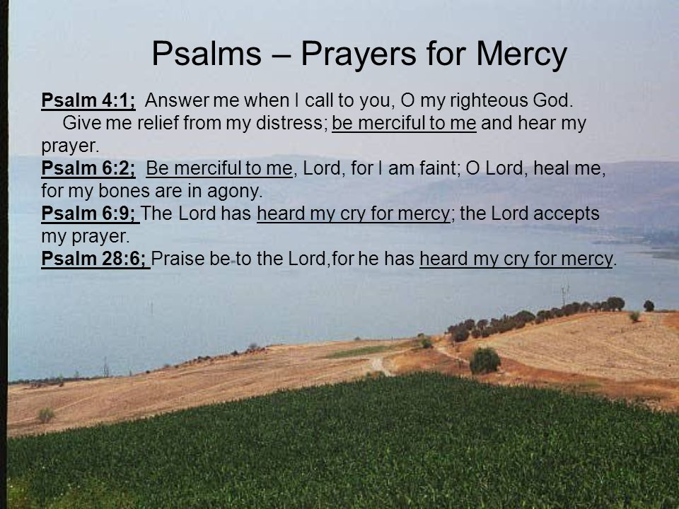 Psalms – Prayers for Mercy Psalm 4:1; Answer me when I call to you, O my righteous God.