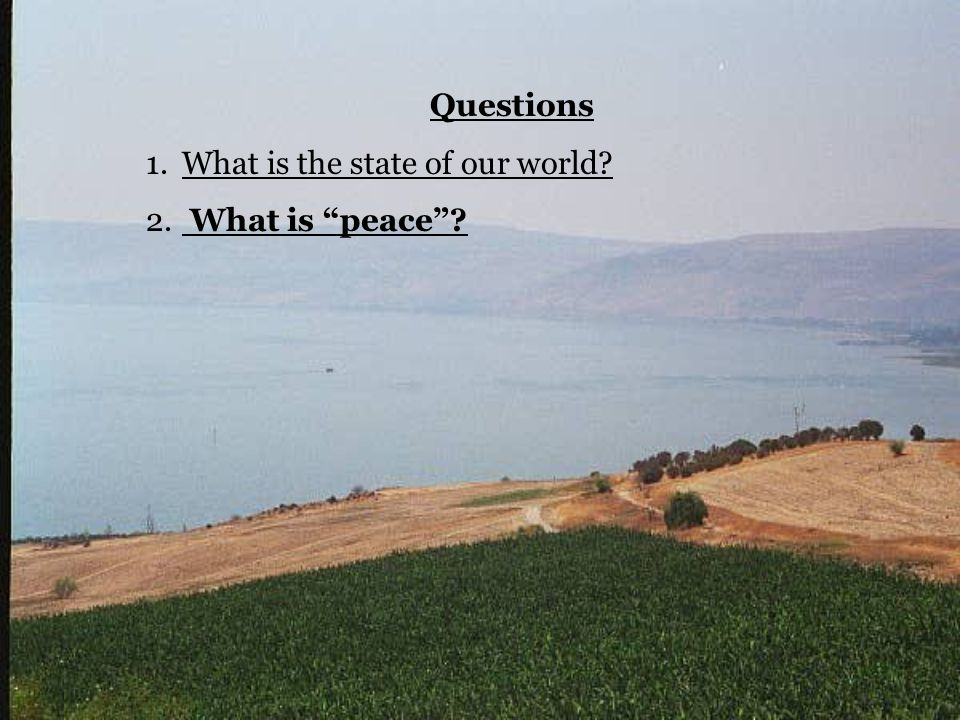 "Questions 1.What is the state of our world? 2. What is ""peace""?"