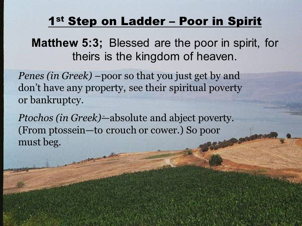 1 st Step on Ladder – Poor in Spirit Matthew 5:3; Blessed are the poor in spirit, for theirs is the kingdom of heaven. Penes (in Greek) –poor so that