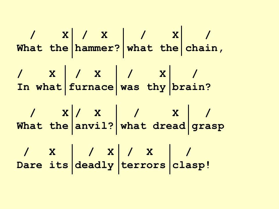 / X / X / X / What the hammer. what the chain, / X / X / X / In what furnace was thy brain.