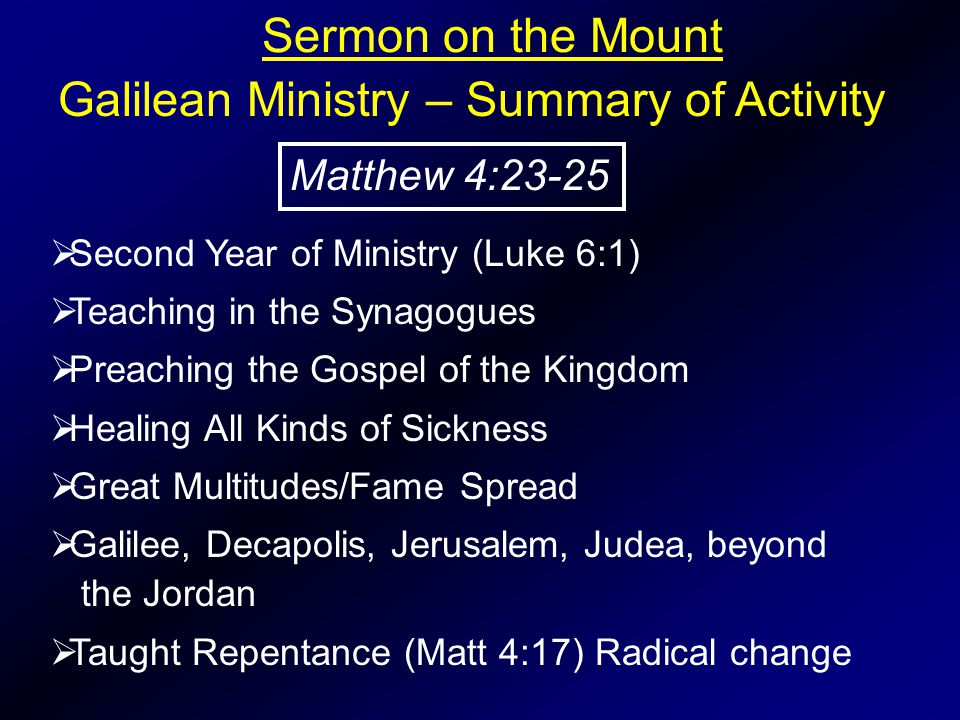 Sermon on the Mount  Second Year of Ministry (Luke 6:1)  Teaching in the Synagogues  Preaching the Gospel of the Kingdom  Healing All Kinds of Sic