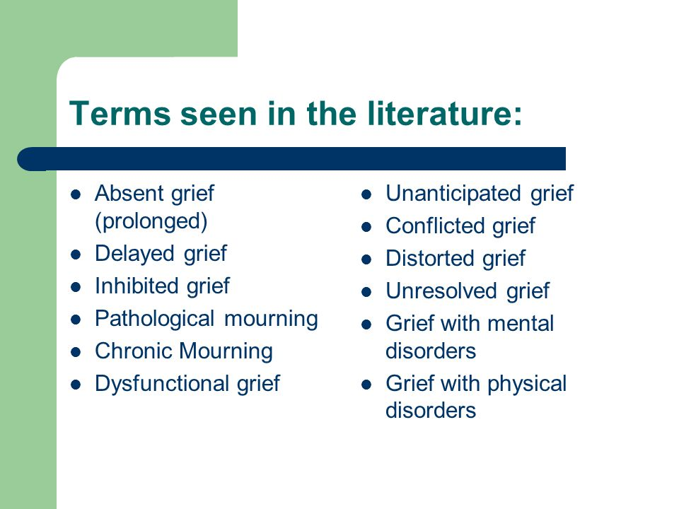 Terms seen in the literature: Absent grief (prolonged) Delayed grief Inhibited grief Pathological mourning Chronic Mourning Dysfunctional grief Unanticipated grief Conflicted grief Distorted grief Unresolved grief Grief with mental disorders Grief with physical disorders