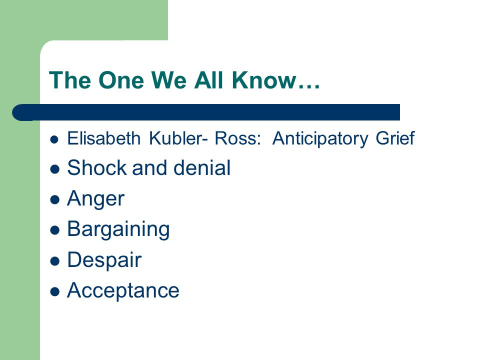 The One We All Know… Elisabeth Kubler- Ross: Anticipatory Grief Shock and denial Anger Bargaining Despair Acceptance