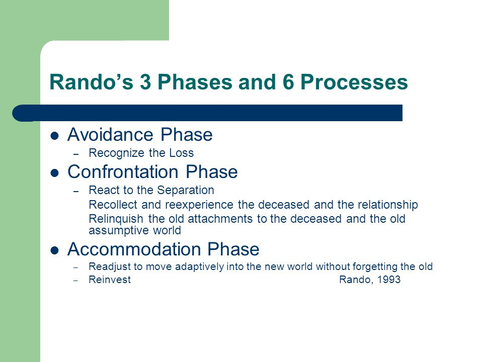Rando's 3 Phases and 6 Processes Avoidance Phase – Recognize the Loss Confrontation Phase – React to the Separation Recollect and reexperience the deceased and the relationship Relinquish the old attachments to the deceased and the old assumptive world Accommodation Phase – Readjust to move adaptively into the new world without forgetting the old – ReinvestRando, 1993