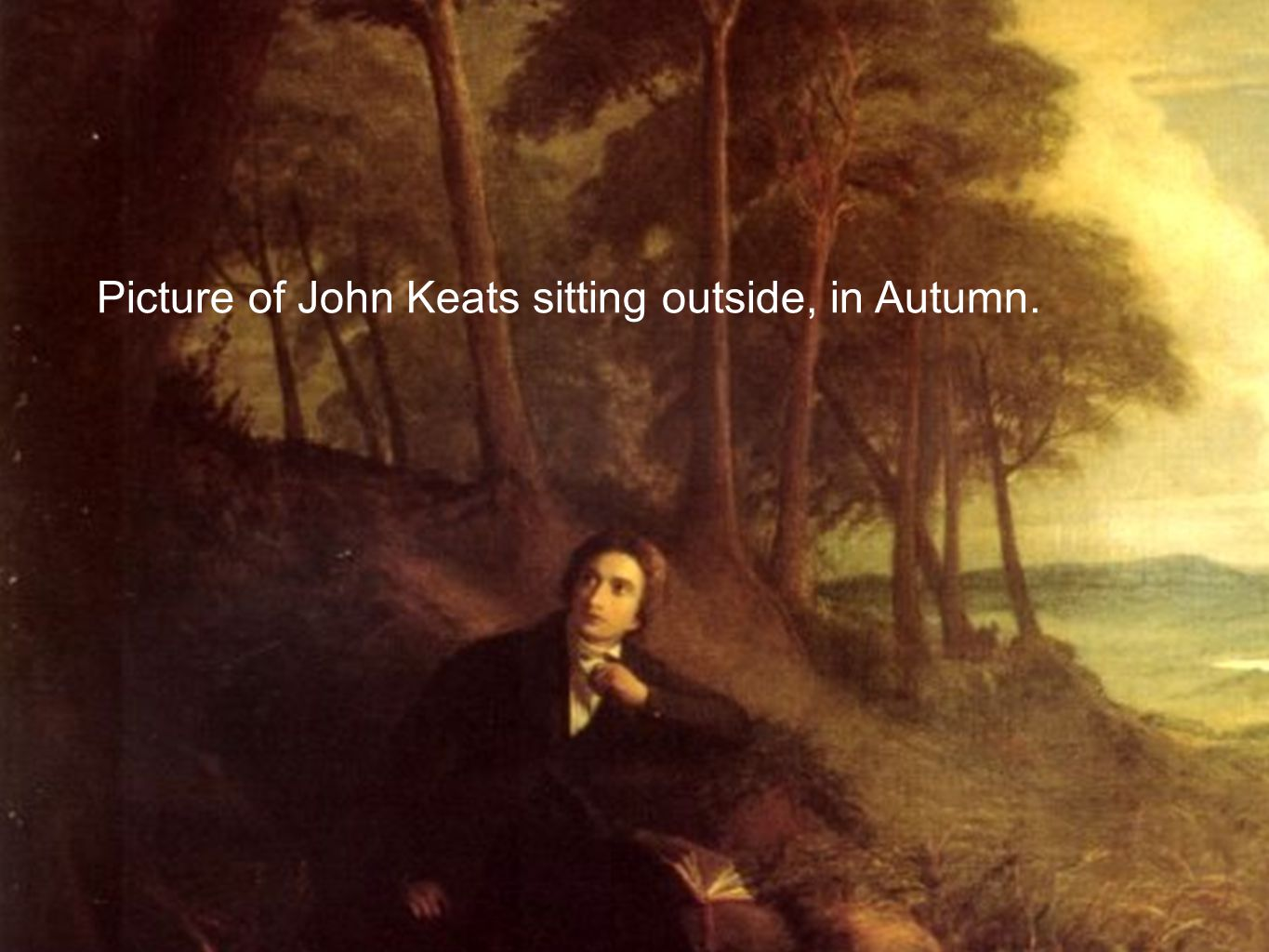Picture of John Keats sitting outside, in Autumn.