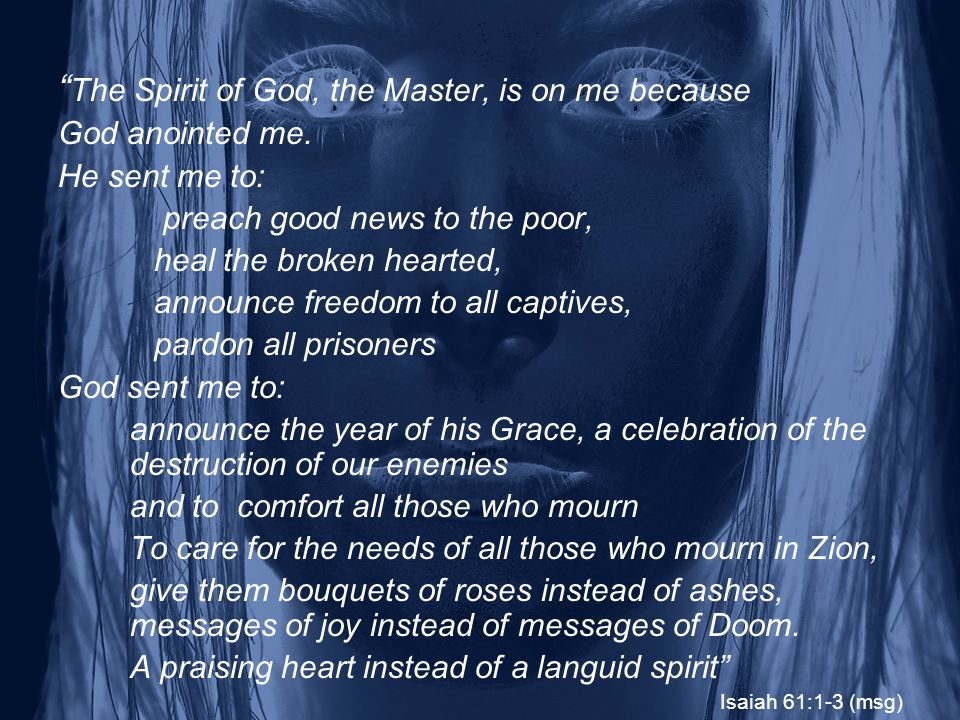The Spirit of God, the Master, is on me because God anointed me.