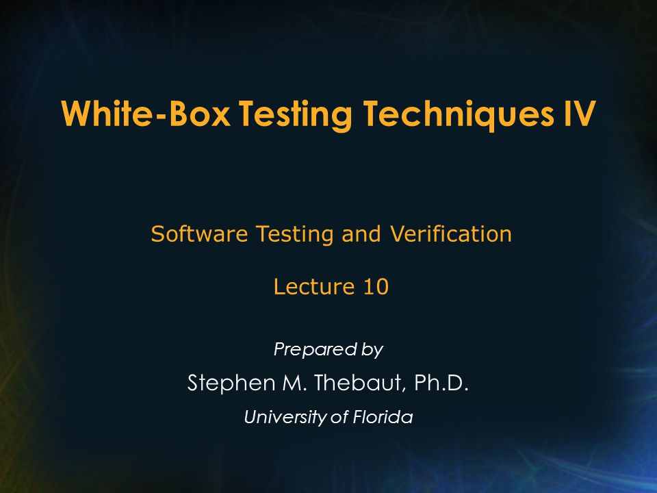 White-Box Testing Topics Logic coverage (lecture I) Dataflow coverage (lecture II) Path conditions and symbolic evaluation (lecture III) Other white-box testing strategies (e.g., fault-based testing ) (lecture IV)