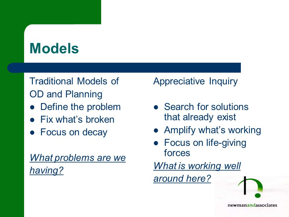 Models Traditional Models of OD and Planning Define the problem Fix what's broken Focus on decay What problems are we having.