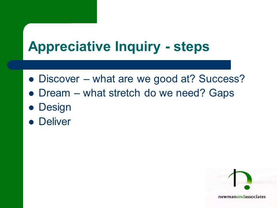 Appreciative Inquiry - steps Discover – what are we good at.